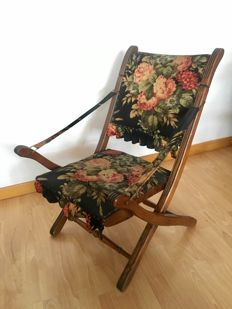 Unknown designer. Folding chair in chestnut and petit point wood - France - around 1957