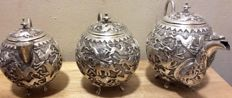Indian silver tea set Kutch ca 1880 West India