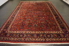 Old, handwoven, Art Nouveau, Persian Palace carpet, Mashhad, signed 245 x 345cm, made in Iran