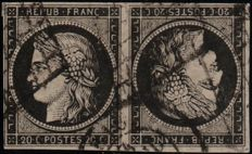 France 1849 - pair of tête-bêche due Cérès 20 centimes black on white cancelled grill and cachet to date - Yvert 3d
