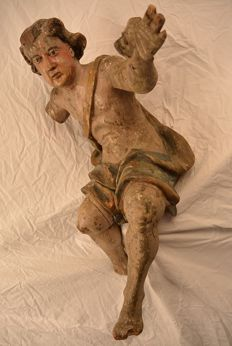 Large polychrome painted carved wooden Angel, presumably Saint Gabriel - Baroque - ca. 1700