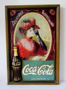 Beautiful wooden wall sign Coca Cola in relief