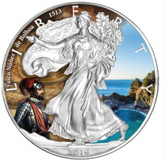 USA - American Silver Eagle 2016 - Discoverer of America Vasco Nunez de Balboa - colour edition - edition of 5,000 pieces with certificate