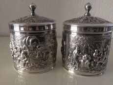 Two silver plated tea caddies Douwe Egberts, made by Herbert Hooijkaas Schoonhoven.