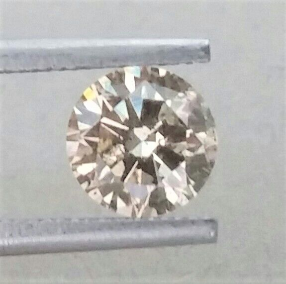1.00 carat - Natural Fancy Champagne Round Brilliant Cut  - SI1 clarity- Comes With AIG Certificate + Laser Inscription On Girdle