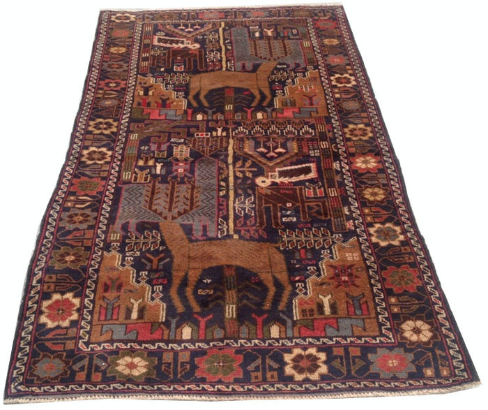 Semi Antique Afghan Pictorial Hand Knotted Balouch Herati Area Rug 200 cm x 112 cm
