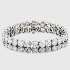 14KT white gold bracelet set  with 27 created moissanites, Total Length: 7.25 inches