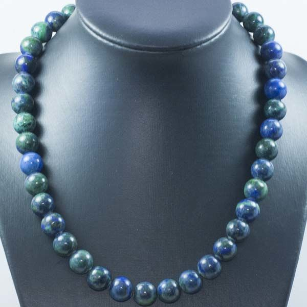 18 kt Gold Necklace of green Lapis lazuli – 43 cm
