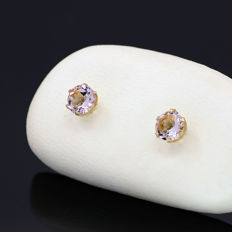 14k/575 yellow gold  earrings with two morganite - Total gemstones weight 0.60 ct.