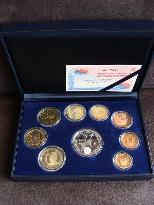 Spain - Year pack 2002, including silver 12 euro