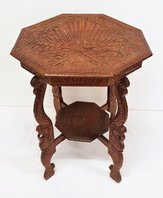 Woodcarving, side table with peacocks and snakes, Netherlands, second half 20th century