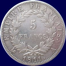 France - 5 Francs 1811 A (Paris) - Napoleon I - Silver