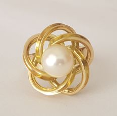 18 kt yellow gold ring with cultured pearl - size 16.5 mm, 12/52 (EU)
