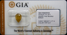 2.77 ct Certified Fancy Deep Brownish Orangy Yellow Diamond  - NO RESERVE