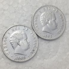 Portugal -- Monarchy -- D. Carlos I -- 2 coins -- 500 Reis -- 1892 and 1908 -- Silver