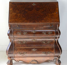Baroque style double bent walnut writing desk, Holland ca. 1950