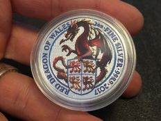 United Kingdom - 5 pounds - 2 oz The Queen's Beasts - colour edition - Dragon of Wales 2017 - 999 silver coin