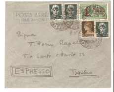 Social Republic of Italy, 1944, Express letter, with stamps for 1.80 (instead of 1.75) Lira. Express with Genoa overprint with plate position no. 29 Sassone 245/246, 21 GE