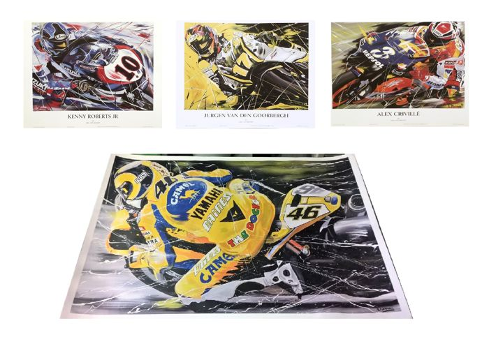 Lithographies by Eric Jan Kremer - lot with 4 motor races