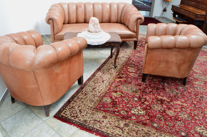 Sofa set with 2 armchairs, leather, Germany, 1930s