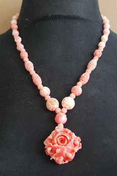 925 silver pink coral carved necklace with flower pendant - 49cm
