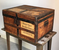 Pine Trunk with original labels, Netherlands, ca.1900