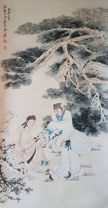 Hand-painted scroll painting《张大千-高仕图》- China - late 20th century