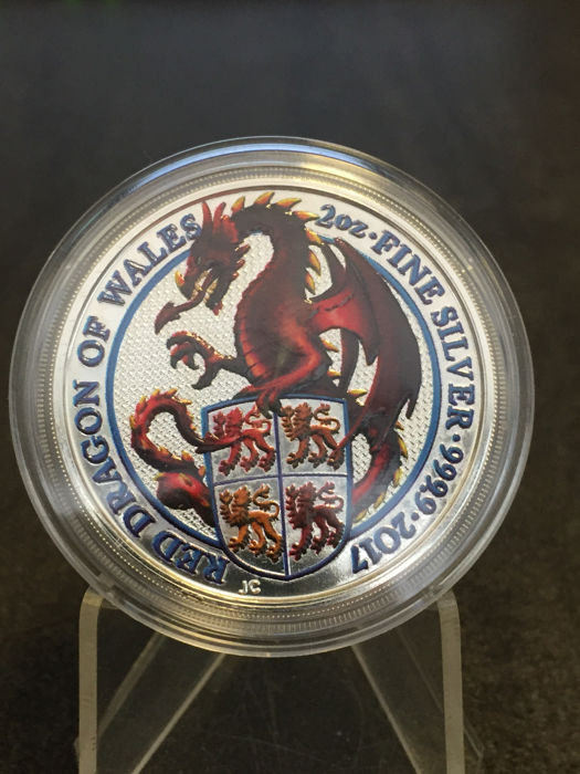 Great Britain - 5 Pounds 2017 'The Queen's Beasts / dragon of Wales' with colour - 2 oz. Silver