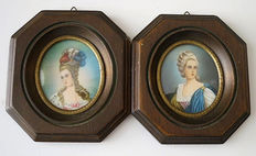 Two signed portrait miniatures, of noble Ladies, France, late 19th century
