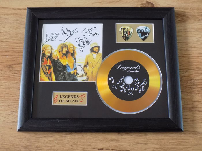 Led Zeppelin signed ( printed ) gold effect CD and plectrum display presentation.