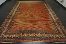 Magnificent hand-knotted Persian carpet, Sarouk Mir, 260 x 360 cm, made in Iran, great highland wool, very good condition.