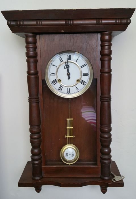 Antique regulator without pendulum spring and Gustav Becker wall clock, both early 20th century