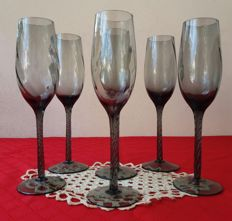 Lot of 6 molato crystal stem glasses, finely carved with spiral stem, stamped on the bottom - France, Liberty 1900 - 20