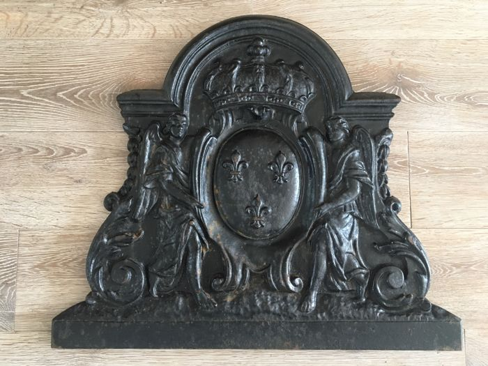 French castle mantelpiece fire plate, French Ardennes, 1920s–1930s