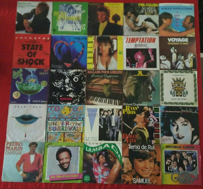 Lot of 25 Singels by  Rod Stewart; Phil Collins; Michael Jackson; Police; Sabrina; Heaven 17; Voyage; Lime; Barrabas;Talk Talk; Tom Tom Club; Tommy Conwell and The Young Rumblers and More