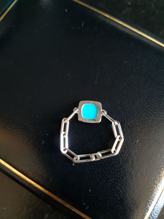 bague or blanc et turquoise