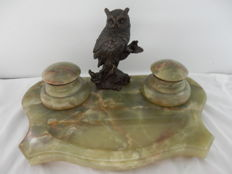 Green Onyx Desk set with bronze Owl