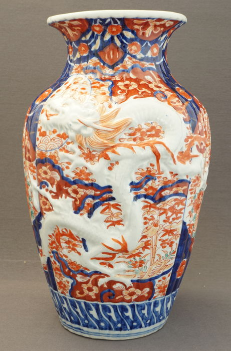 Large Imari Vase With Relief Decoration Of A Dragon Japan Around