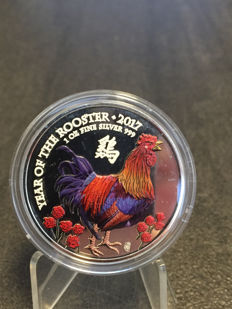 Great Britain – 2 pounds 2017 'Year of the Rooster' with colour – 1 oz silver