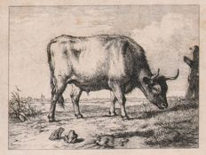Eugène Joseph Verboeckhoven ( 1798 -- 1881 ) - A  Pair: The Spaniel , The cow with the froggs - Ca. 1830