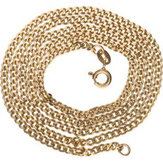 14 kt Yellow gold curb link necklace - Length: 46 cm.
