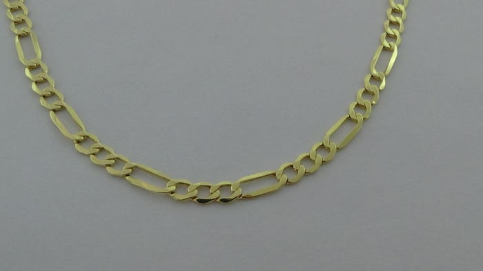 14 kt gold Figaro-link necklace - length: 55.5 cm