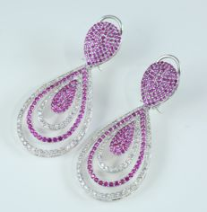 IGI Certified 14K White Gold Long Chandelier Diamond and Ruby earrings- 24.05 g - 4.71 ct. diamonds and 6.45 ct. Rubies