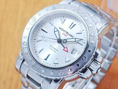 Montblanc XL GMT Stainless Steel Automatic Mens Watch!