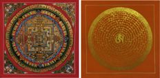 Two Handpainted Thangka painting, Kalachakra & Mantra Mandala- Tibet/Nepal - late 20th century