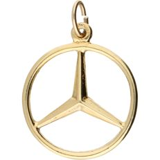 14 kt- Yellow gold pendant in the shape of a Mercedes logo – 2.5 x 1.8 cm
