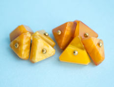 2 pair of vintage cuff links of Baltic Amber and gold plated metal,  egg yolk colour