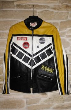 Champion - British cafe racer leather motorcycles jacket with patches - c.1970
