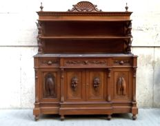 Solid walnut sideboard with marble top and open plate rack - Italy - 19th century