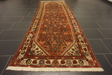 Old Persian carpet Malayer Hamadan runner 110 X2 90 cm natural dyes Made in Iran